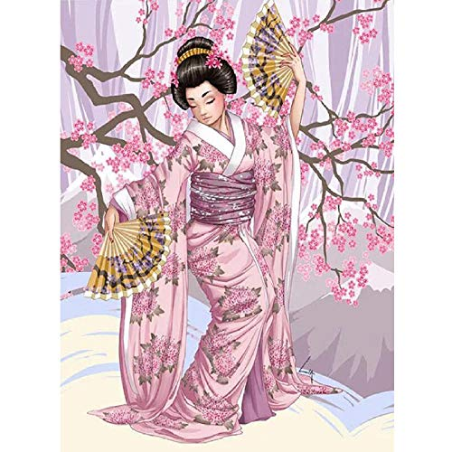 Knutselfoto, personaliseerbaar, schilderen, diamantschilderwerk, kruissteek, 5D, voor dames, kimono, borduurwerk mozaïek met diamanten 60x80cm