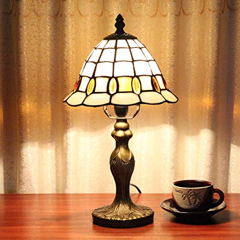 GEYAO Europische minimalistische Retro Tischlampe Glasmalerei handgefertigte Beleuchtung Lampe Schlafzimmer Nachttischlampe Wohnzimmer Bar Kaffee Bar Tischleuchte amerikanischen Stil warm romantische