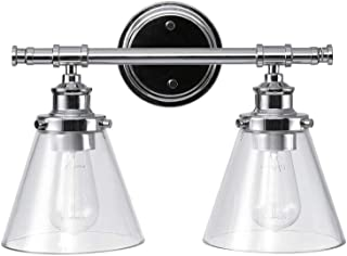 Globe Electric Parker 2 Vanity Light, Chrome, Clear Glass Shades 51412