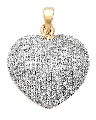 Ciondolo a forma di cuore in oro giallo 9 ct con pavé di diamanti e catenina.