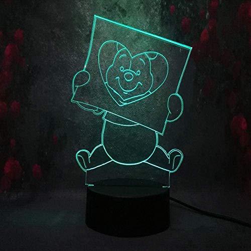 Veilleuse Creative Mignon Porcelet Winnie Friend Pooh 3D Led Led Lampe De Table De Bureau Usb 7 Couleur Rc Télécommande Illusion Kid Lumière Jouet Cadeau