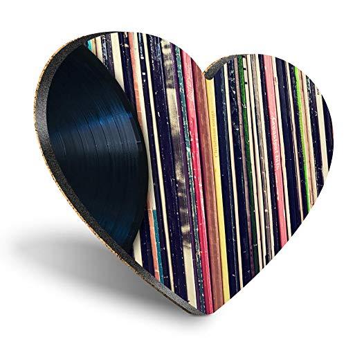 Posavasos con forma de corazón de MDF, discos de música de vinilo, retro, estilo vintage, con calidad brillante, protección de mesa para cualquier tipo de mesa #24398