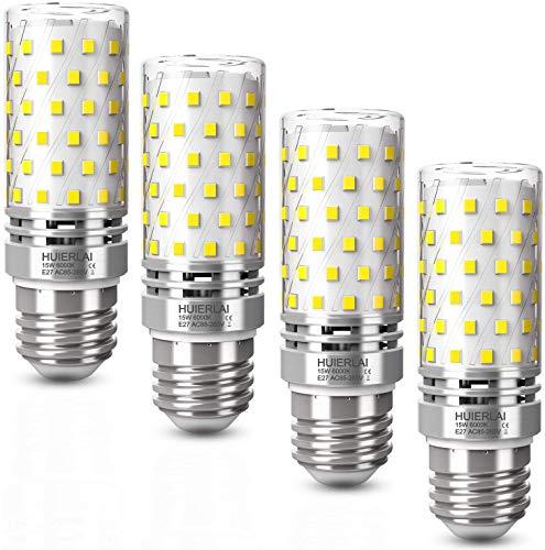Bombilla Maíz E27 LED 15W luz Blanco Frío 6000K 1600LM Equivalentes 120W Incandescente Bombillas, Bombillas LED E27 Bombilla LED Candelabros E27 Edison tornillo Bombillas No Regulable, 4 unidades