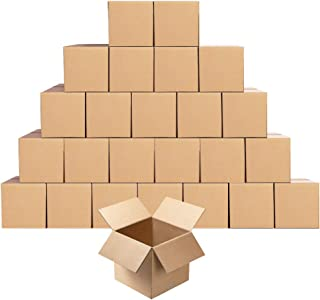 Small Cardboard Shipping Boxes Mailers 5x5x5 inches Corrugated Packing Cube Kraft Storage Mailing Box, Pack of 25
