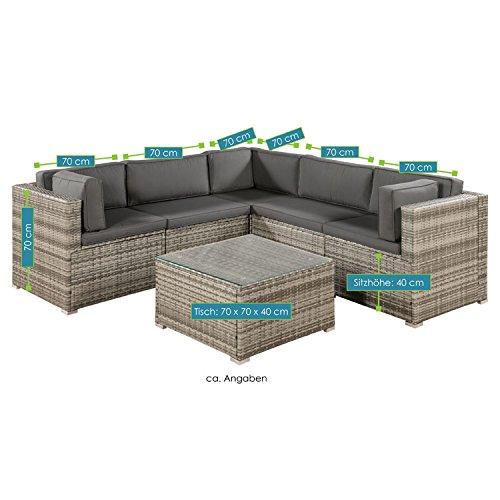 ArtLife Polyrattan Lounge Sitzgruppe Nassau beige-grau mit Bezügen in Dunkelgrau - 7