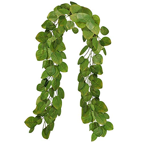 6' Long 4.5' W Faux Silver Dollar Eucalyptus Leaf Garland Artificial Wedding Greenery Garland Fake Hanging Leave Vine Garland 133 Leaves for Floral Table Runner Centerpiece Backdrop Arch Rustic Decor