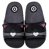 pantofole e bambini scarpe da spiaggia e piscina ragazzi ragazze ciabatte da doccia estive sandali bagno a punta aperta, nero gatto, 33/34 eu