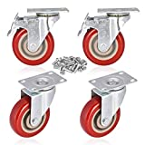 Moogii 4' Swivel Rubber Caster Wheels with...