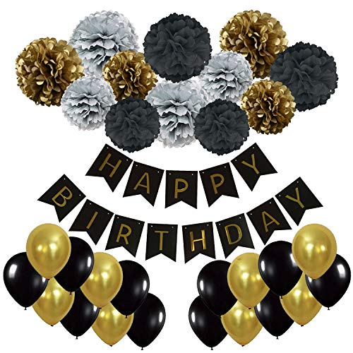 Recosis Happy Birthday Banner, Birthday Bunting Paper Garland with 12pcs Tissue Paper Pom Poms and 20pcs Balloons for Birthday Party Decorations - Black, Gold and Silver