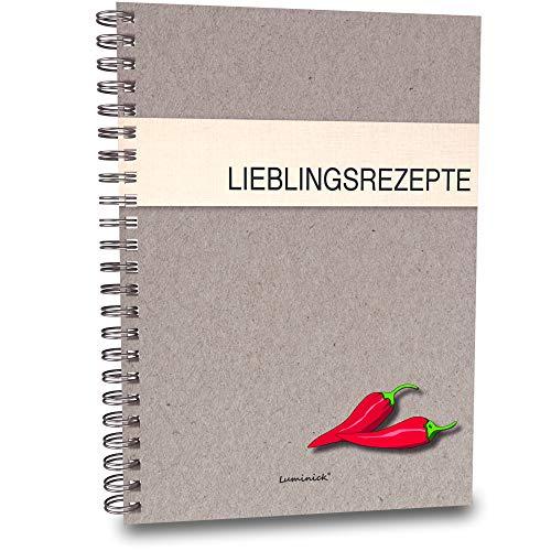 Luminick Rezeptbuch, Kochrezepte, modernes Design, 44 Seiten DIN A5 zum Selberschreiben, Eintragen & Sammeln, für eigene Rezepte DIY, 350gr. Karton mit Spiralbindung