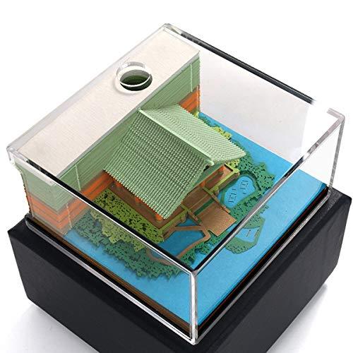 Notas Post-It 3D Memo Block House Estarcidos para Conveniencia Pegatinas Special Festival Gift,Verde