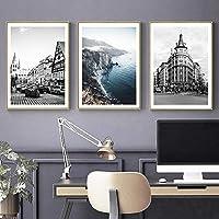 黒白風景写真スカンジナビアポスター北欧スタイルプリント自然風景壁アートキャンバス絵画リビングルームの装飾| 40x60cmx3Pcs /フレームなし