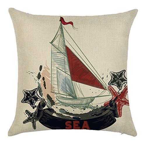 KnBoB Funda de Cojin Barco y Estrella de Mar 40 x 40 cm Rojo Negro Beige Lino Estilo 1