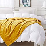 COCOPLAY W Mustard Yellow Throw Blanket, Flannel Fleece 50×60 Inches, All Season Microfiber Velvet Super Luxury Lightweight Warm Soft Cozy Blanket for Bed, Couch, Car