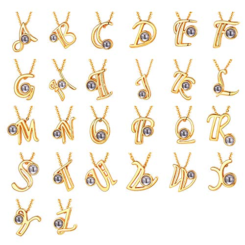 U7 Damen Schlüsselbein Kette mit Buchstabe G Charms Gelbgold überzogen Projektion 100 Sprachen Ich Liebe Dich Anhänger Halskette einzigartig Initiale Schmuck Geschenk für Valentinstag Geburtstag