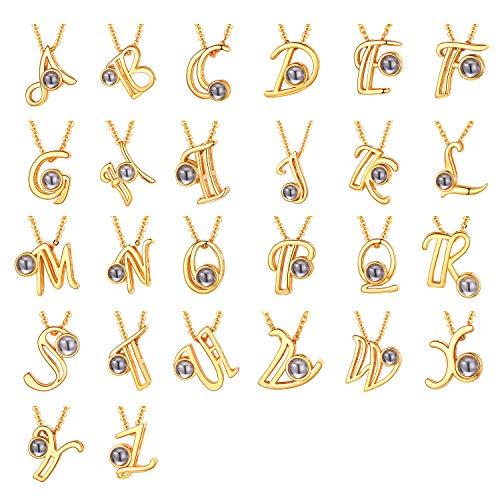 U7 Projektion Ich Liebe Dich Kette für Damen Mädchen Buchstabe N Namenkette Gelbgold überzogen Nanotechnologie Schlüsselbein Kette mit Initiale Anhänger einzigartiger Modeschmuck Accessoire