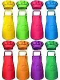 16 Pezzi Grembiuli per Bambini e Cappello di Cuoco Set Grembiuli per Bambini Regolabile con Tasca Grembiuli da Cucina Cappelli da Cuoco per Pittura da Ragazzi Ragazze (Multicolore, M for 7-13 Age)