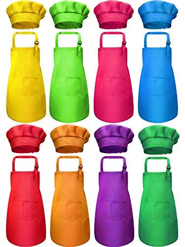 8 Stück Kinder Schürze und 8 Stück Kochmütze Set Kinderschürze mit 2 Taschen Kinder Verstellbare Kochschürze und Hüte für Jungen Mädchen Küche Kochen Backen Malerei Tragen(Mehrfarben,M für 7-13 Jahre)