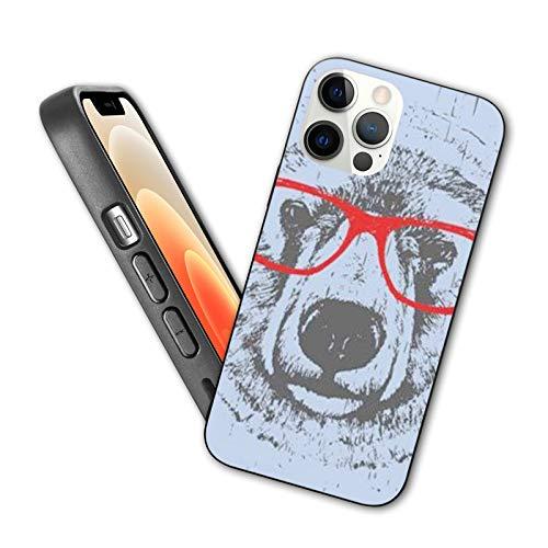 Compatible con el iPhone 12 Pro Max Case Retrato de oso polar con gafas Drawn Ilustración de la mano Vector Protective Shockproof Cover con Soft TPU Bumper y Hard PC Back (6,7 pulgadas)