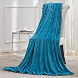 BEAUTEX Fleece Throw Blanket with Pompom Fringe, Aqua Flannel Blankets and Throws for Couch, Super Soft Cozy Lightweight Plush Throw Blanket (50' x 60')