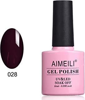 AIMEILI Soak Off UV LED Gel Nail Polish - Burgundy Plum Dark Purple (028) 10ml