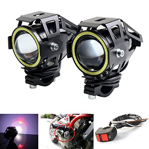 LEDUR Motorcycle Headlight Led U7 DRL Fog Driving Running Light with Angel Eyes Lights Ring Front Spotlight Strobe Flashing White Light and Switch(2PCS,White Halo)