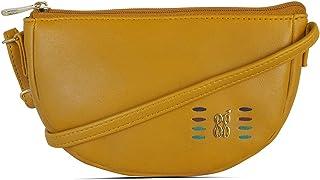 Baggit Spring-Summer 2021 Faux Leather Women's Saddle Bag (Yellow) (Roam)