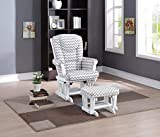 Naomi Home Deluxe Multiposition Sleigh Glider and Ottoman Set White/Gray Chevron