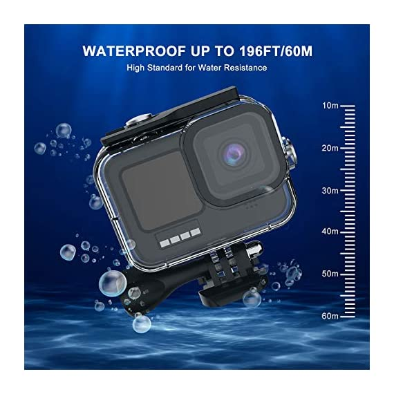 Kupton Accessories Kit Bundle Compatible with GoPro HERO9, Waterproof Housing + Glass Screen Protector + Silicone Case… 2 📷【60m/196ft Waterproof Housing Case】Kupton housing case has tight buckle and upgraded waterproof seal, providing ultimate protection for your GoPro during extreme outdoor activities and deep-water diving. 📷【Silicone Case Set】New Version Bundle compatible with GoPro HERO9 adds daily protection set for your camera, including silicone sleeve case, lanyard as well as silicone lens cap. Silicone protective case with light but strong materials fits your camera snugly. Lanyard well solves the problem of carrying for outdoor video activity. 📷【Tempered Glass Screen Protector】Tempered glass protector with a thickness of only 0.3mm brings crystal viewing experience, protecting screen and lens of your camera from dust, fingerprints, drops, scratches and bumps.