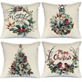 AENEY Merry Christmas Pillow Covers 18x18 Set of 4 Watercolor Wreath Bird Christmas Pillows Rustic Winter Holiday Throw Xmas Pillows Farmhouse Christmas Decor Christmas Decorations for Couch A280