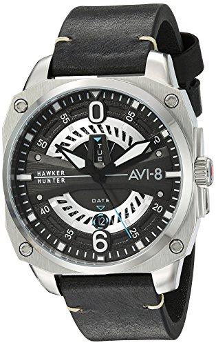AVI-8 Men's Hawker Hunter Stainless Steel Japanese-Quartz Aviator Watch with Leather Strap, Black, 22 (Model: AV-4057-01)
