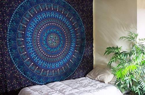 Tapiz azul para colgar en la pared, diseño de mandala hippie, cuchara, mandala, bohemio, decoración del hogar, psicodélico, étnico indio, mantel, camel, elefante, algodón, tapiz doble 85 x 55 pulgadas