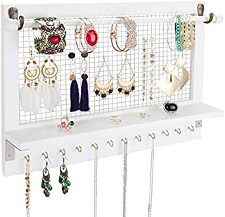 Satauko Wooden Wall Mounted Jewelry Organizer Shelf for Hanging Earrings, White Jewelry Shelves with Removable Rod for Bracelets Storage, Jewelry Stand with 12 Hooks for Necklace Racks, Ring Holder.