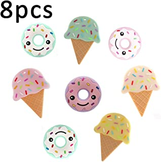 Baby Teether 8pc Doughnut Ice-Cream Silicone Teether Teething Pendant Baby Pacifier Accessory BPA Free Safe Shower Gift