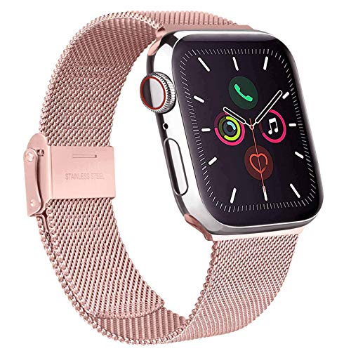 Mugust Metallo Cinturino Compatibile con Apple Watch Cinturino 38mm 40mm 42mm 44mm, Magnetico Cinturini di Ricambio Traspirante in Acciaio Inossidabile per iWatch Series 6 5 4 3 2 1 SE