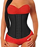 YIANNA Donna Corsetto Dimagrante Stringivita Latex Waist Trainer Corpetto Body Shaper Bustino Modellante Nero,U37G Size XS