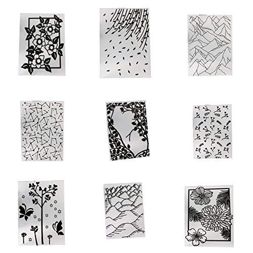 9 Styles Plastic Embossing Folder DIY Craft Template Stamp Scrapbook Cards Photo Album Making Stencil Tool Scrapbooking Embossing Folders DIY Handmade Art Craft Supplies Fondant Cake Decorating Mould