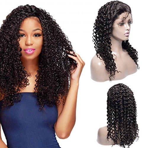 VIPbeauty curly wave Perruque Lace Frontale Remy Cheveux Perruques 150% Densite Bresilien Naturel Couleur Naturel Pour Femme 22 Pouces