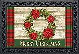 "Briarwood Lane Poinsettia Wreath Christmas Doormat Plaid Indoor Outdoor 18""x30"""