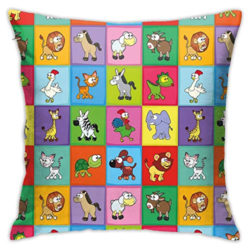 DHNKW Throw Pillow Case Cushion Cover,Group of Funny Young Animals In Colorful Squares Happy Cartoon Wildlife Pattern ,18x18 Inches