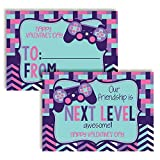 Next Level Friend Video Game Themed Valentine's Day Cards in Pastel Colors for Kids to give to Friends & Classmates, Thirty (30) 3.5' x 5' Fill In Cards (Without Envelopes) by AmandaCreation