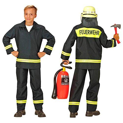 Nick and Ben Kinder-Feuerwehr-Kostüm Grösse 152 Feuerwehr-Mann Feuerwehr-Uniform Hose Jacke Schwarz THW Anzug Faschings-Kostüme