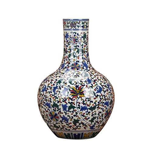 WKHQQ Vasi Tradizionali Vaso Bottiglia di Porcellana Vaso Vintage in Stile Cinese Blu e Bianco Vaso in Porcellana Ceramica Vaso Decorativo Vaso per la Famiglia Vaso di Fiori Finti (Color : A)