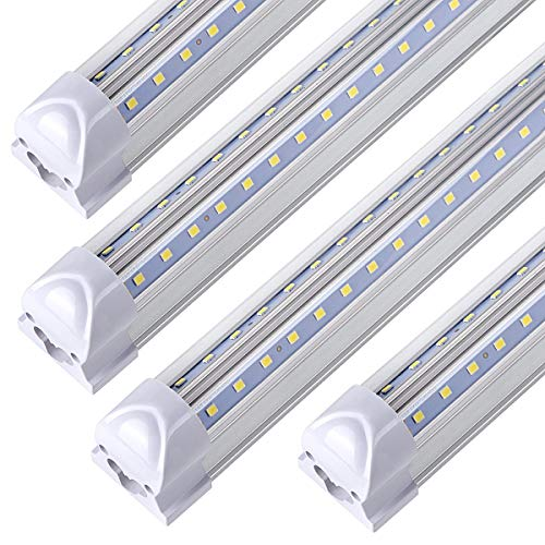 (10-Pack), 8FT LED Shop Light Fixture ,T8 , 90W 11000LM 6000K, Cold White, V Shape, Clear Cover, Hight Output, Linkable Shop Lights, T8 LED Tube Lights, LED Shop Lights for Garage 8 Foot with Plug