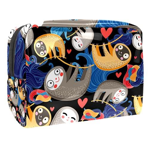 Bolsas de maquillaje, lindo arte abstracto dibujos animados perezoso bebé cremallera bolsa organizador de viaje cosmético para mujeres y niñas