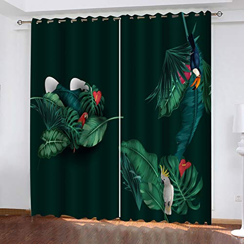 3D European-Style Personalized Decorative Curtains Suitable For Bedroom, Balcony, Garden Curtain Hole Installation Method 1 Pair