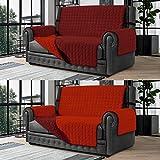 Banzaii Cubre Sofá – Funda Sofá Acolchada Reversible – 2 Plazas Burdeos y Rojo para Asiento de 115 a 140 cm