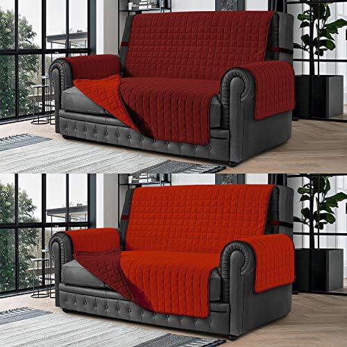 Banzaii Cubre Sofá – Funda Sofá Acolchada Reversible – 4 Plazas Burdeos y Rojo para Asiento de 230 a 255 cm