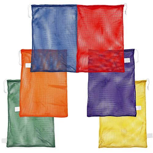 Champion Sporttasche aus Netzstoff – Mehrzweck-Nylon-Kordelzug-Sack mit Schloss und ID Tag für Bälle, Strand, Wäsche, Set mit 6 Farben, 24 in x 36 in