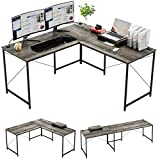 Bestier L Shaped Industrial Desk 95.2 Inch Reversible Corner Computer Desk or 2 Person Long Table for Home Office Large U Shaped Gaming Workstation with Monitor Stand and 3 Cable Holes, Gray